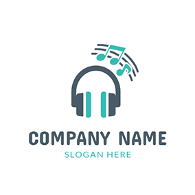 Green Note and Wireless Headphone logo design