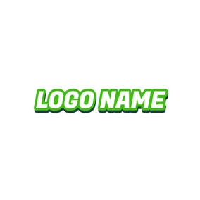 Green Outlined White Wordart logo design