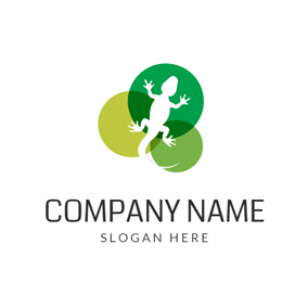 Green Overlapping Circle and Lizard logo design