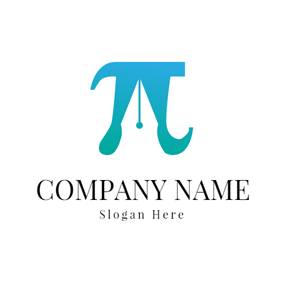 Green Pen and Pi logo design
