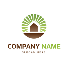 Green Rays and Brown House logo design