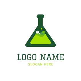 Green Reagent Bottle and Chemistry logo design