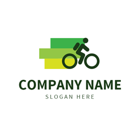 Green Rectangle and Cycling logo design