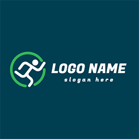 Green Round and Running Man logo design