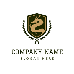Green Shield and Golden Dragon logo design