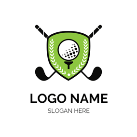 Green Shield and Golf Clubs logo design