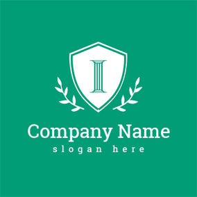 Green Shield and Letter I logo design