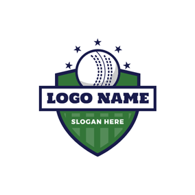 Green Shield and White Cricket Ball logo design
