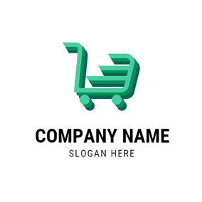 Green Shopping Trolley logo design
