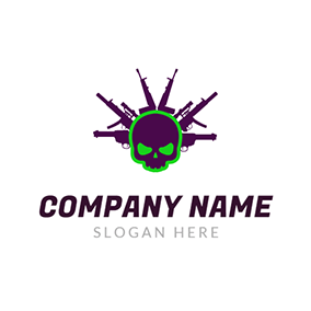 Green Skull and Purple Gun logo design