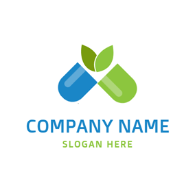 Green Sprout and Opened Capsule logo design