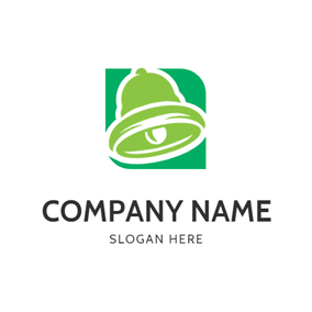 Green Square and Bell logo design