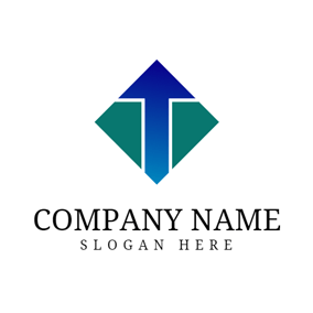 Green Square and Blue Arrow logo design