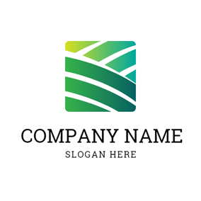 Green Square and Farm logo design
