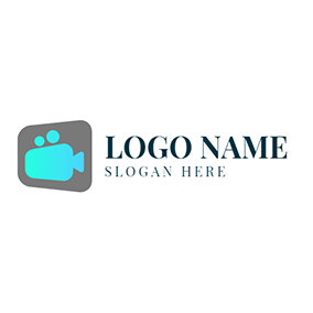 Green Square and Gray Video logo design