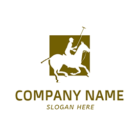Green Square and Horse Icon logo design