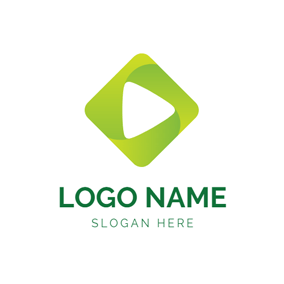 Green Square and Play Button logo design