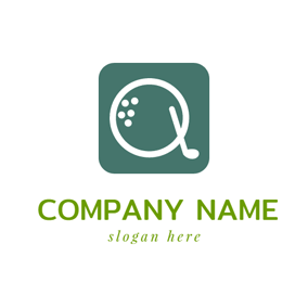 Green Square and White Letter Q logo design