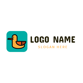 Green Square and Yellow Duck logo design