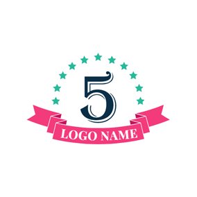 Green Star and Black Number logo design