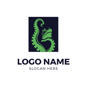 Green Steamship and Kraken logo design