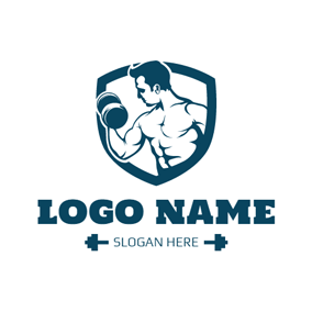 green strong man and dumbbell shield logo design