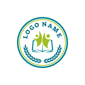 Green Student and Blue Book logo design