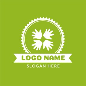 Green Sun and White Hand logo design