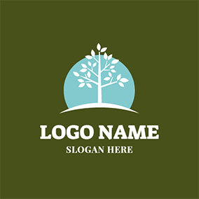 Green Sun and White Tree logo design