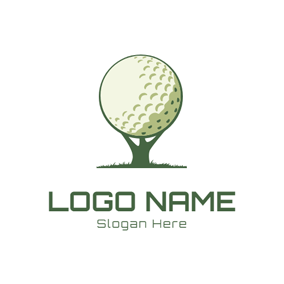 Green Tee and Golf Ball logo design