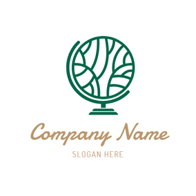 Green Tellurion and Tree logo design