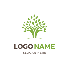 Green Tree and Abstract Family logo design