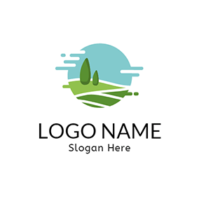 Green Tree and Grassland logo design