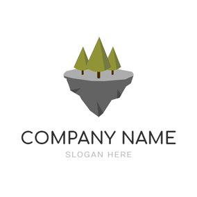 Green Tree and Island logo design