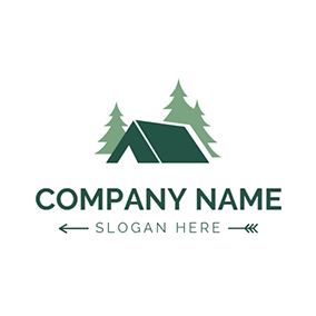 Green Tree and Tent logo design