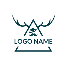 Green Triangle Antler and Hipster logo design