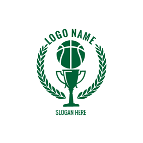Green Trophy and Basketball logo design
