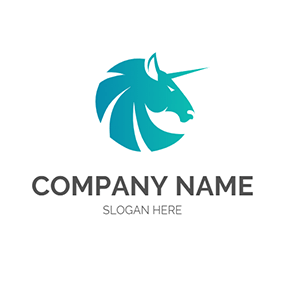 Green Unicorn Head Outline logo design