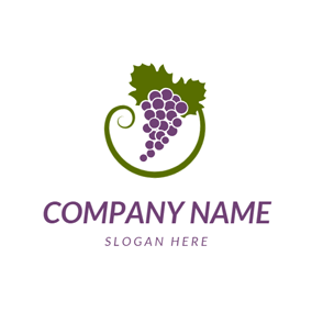 Green Vine and Purple Grape logo design