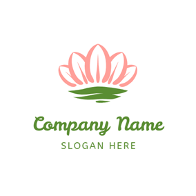 Green Water and Pink Lotus logo design