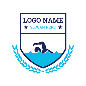 Green Water and Swimmer logo design