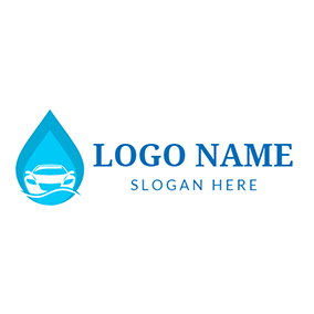 Green Water Drop and Car Wash logo design