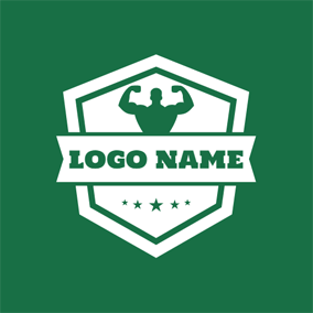 Green Wrestling Badge logo design