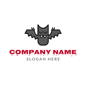 Grey and Black Cartoon Bat logo design