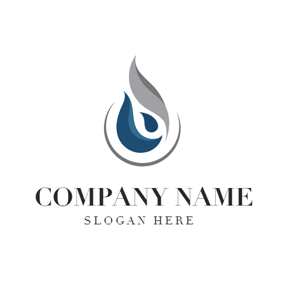 Grey and Blue Oil Drop logo design