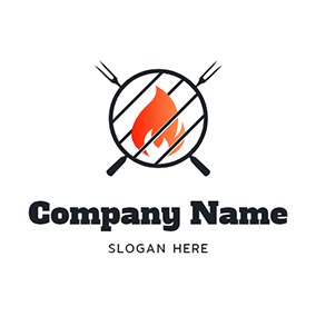 Grill Fire Circle and Bbq logo design