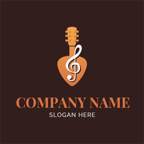 Guitar Outline and Note logo design