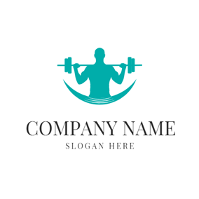 Gym Equipment and Athlete Man logo design