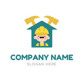 Hammer and Cute Handyman logo design