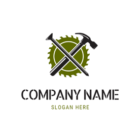 Hammer and Electric Saw logo design